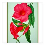 """Red Morning Glorys Square Car Magnet 3"""" x 3"""""""