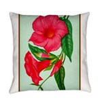 Red Morning Glorys Everyday Pillow