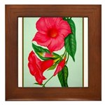 Red Morning Glorys Framed Tile