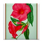 Red Morning Glorys Tile Coaster