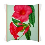 Red Morning Glorys Woven Throw Pillow