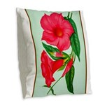 Red Morning Glorys Burlap Throw Pillow