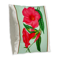 Red Morning Glorys Burlap Throw Pillow