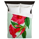 Red Morning Glorys Queen Duvet