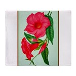 Red Morning Glorys Throw Blanket