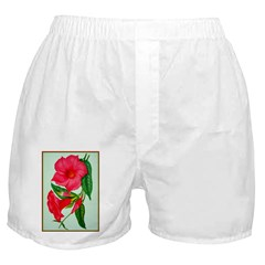 Red Morning Glorys Boxer Shorts