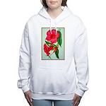 Red Morning Glorys Women's Hooded Sweatshirt