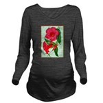 Red Morning Glorys Long Sleeve Maternity T-Shirt