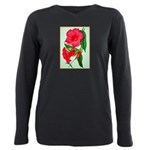 Red Morning Glorys Plus Size Long Sleeve Tee