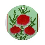 String Bell Vintage Flower Print Round Ornament