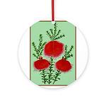 String Bell Vintage Flower Print Round Ornament
