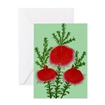 String Bell Vintage Flower Print Greeting Cards