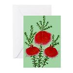 String Bell Vintage Flower Print Greeting Cards