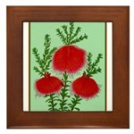 String Bell Vintage Flower Print Framed Tile