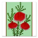 String Bell Vintage Flower Print Square Car Magnet