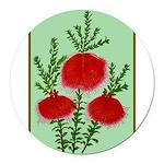 String Bell Vintage Flower Print Round Car Magnet