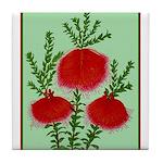 String Bell Vintage Flower Print Tile Coaster