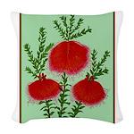 String Bell Vintage Flower Print Woven Throw Pillo