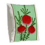 String Bell Vintage Flower Print Burlap Throw Pill