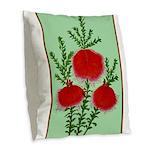 String Bell Vintage Flower Print Burlap Throw Pill