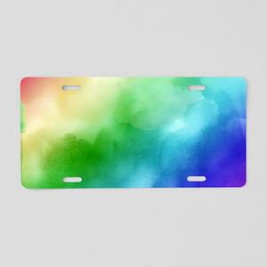 Rainbow Watercolors Aluminum License Plate