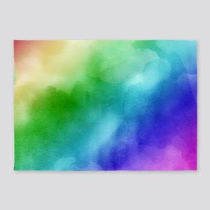 Rainbow Watercolors 5'x7'Area Rug