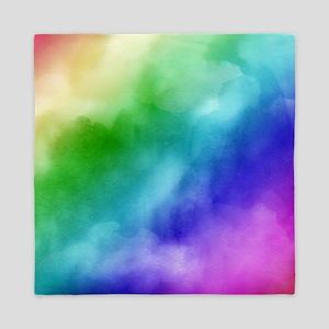 Rainbow Watercolors Queen Duvet
