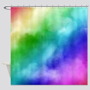 Rainbow Watercolors Shower Curtain