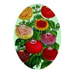 Chinese Lantern Vintage Flower Print Oval Ornament