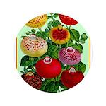 "Chinese Lantern Vintage Flower Print 3.5"" Button ("