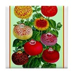 Chinese Lantern Vintage Flower Print Tile Coaster