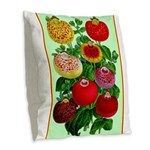 Chinese Lantern Vintage Flower Print Burlap Throw