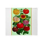 Chinese Lantern Vintage Flower Print Throw Blanket