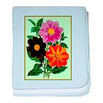 Colorful Flowers Vintage Poster Print baby blanket