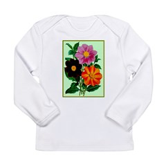 Colorful Flowers Vintage Poster Print Long Sleeve