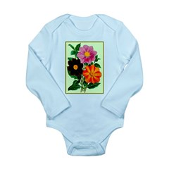 Colorful Flowers Vintage Poster Print Body Suit