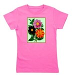 Colorful Flowers Vintage Poster Print Girl's Tee