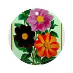 Colorful Flowers Vintage Poster Print Round Orname