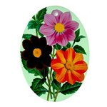 Colorful Flowers Vintage Poster Print Oval Ornamen
