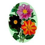Colorful Flowers Vintage Poster Print Oval Ornamen