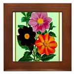 Colorful Flowers Vintage Poster Print Framed Tile