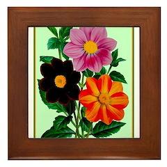 Colorful Flowers Vintage Poster Print Framed Tile