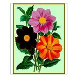 Colorful Flowers Vintage Poster Print Small Poster
