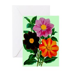 Colorful Flowers Vintage Poster Print Greeting Car