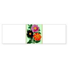 Colorful Flowers Vintage Poster Print Bumper Sticker