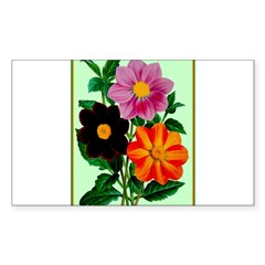 Colorful Flowers Vintage Poster Print Bumper Stickers