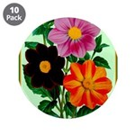 """Colorful Flowers Vintage Poster Print 3.5"""" Button"""