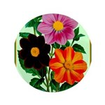 Colorful Flowers Vintage Poster Print Button