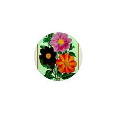 Colorful Flowers Vintage Poster Print Mini Button