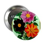 """Colorful Flowers Vintage Poster Print 2.25"""" Button"""